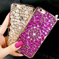 Wholesale Bling Phone Designs - Noble 3D Diamond Sun Flower design phone Cases Bling Rhinestone Electroplating Soft TPU Back Cover for iphone7 7plus iphone6 6Splus 5S SE