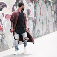 mavi ışık yıldızı toptan satış-Kanye batı tahrip Aynı kot erkekler mavi / siyah tasarımcı rock yıldızı ışık temsil erkekler için sıska sıkıntılı kot yırtık