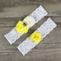 Amarelo Casamento Casacos Bridal Belt For Women Tamanho Plus Sexy White lace Jewely Set Prom Party Toss Elegant Rhinestone Leg Garter Straps