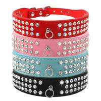 Wholesale Dog Rows Collars - (6 Colors Mixed) Brand New suede Leather Dog Collars 3 Rows Rhinestone Dog collar diamante Cute Pet Collars 100% Quality 4 Sizes available