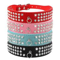 diamantes de imitación mezclan colores al por mayor-(6 colores mezclados) Nuevos collares de perro de cuero de gamuza 3 filas Rhinestone collar de perro diamante Collares lindos para mascotas 100% calidad 4 tamaños disponibles