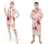 Wholesale Women Costumes Doctor - 2017 Adult Bloody Scary Cosplay Costumes Man Woman Halloween Cosplay Horror Nurse Dress and Doctor Clothes Suits LX3666