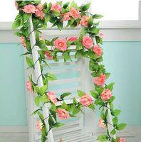 Wholesale Decorative Flowers Prices - estive Party Supplies Decorative Flowers Wreaths Free shipping 2.4meters pcs, 4pcs lot wholesale price rose silk artificial flowers Weddi...
