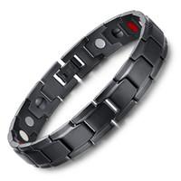 pulseira magnética poderosa venda por atacado-4 em 1 homens de bio titanium aço energia magnética germânio terapia de fadiga de radiação de saúde pulseira de energia pulseira unisex presente b804s