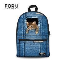 Wholesale White Cat Backpack - Wholesale- FORUDESIGNS Canvas School Backpacks,Animal Denim Cat Printing Backpack for Teenage Girls,School Bags For Teenagers Boys Back Bag