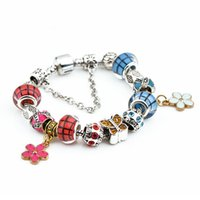 Wholesale butterfly bracelet for girls - butterfly Charm Bracelet Femme For Women Girls Vintage Bracelets With Stones Silver Plated Women DIY Beads Jewelry as Mother's Day gift