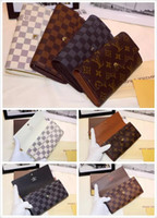 Orignal Quality Men bolsos de cuero famosa marca Wallet Vuitton Fashion embrague monedero de cuero genuino bolsos de las señoras KaTe bolso LOUIS con caja
