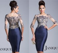 Discount sheath dresses - Janique Mother of the Bride Dresses Jewel Navy Blue Half Sleeves Sheer Crystal Beaded Knee Length Evening Mother Dress JQ1502