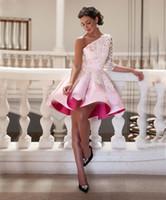 túnica rosa hasta la rodilla al por mayor-Pink Lace Satin One Shoulder Short Prom Vestidos de cóctel 2016 3/4 Manga A-line plisado Hasta la rodilla Vestidos de fiesta Robe De Cocktail