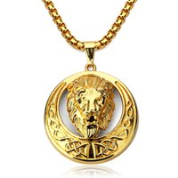 Wholesale Lion Silver Necklace - Mens Jewellery Lion Pendant Men Necklace Hipster Hip Hop Jewelry Gold Plated Chain Big Necklace