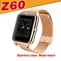 Wholesale Best Smartwatch - Z60 Smart Watch Phone Stainless Steel Support SIM TF Card Camera Fitness Tracker GT08 DZ09 A1 V8 Best Metal Bluetooth Smartwatch for Android