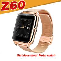 akıllı saat telefona toptan satış-Z60 smart watch telefon paslanmaz çelik destek sim tf kart kamera spor izci gt08 dz09 a1 v8 için en iyi metal bluetooth smartwatch android