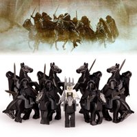 Wholesale Plastic Witch - 18pcs lot The Lord of The Rings Nine Nazgul with Horse Witch-king of Angmar Sauron's Servants Building Blocks Children Gift Toys