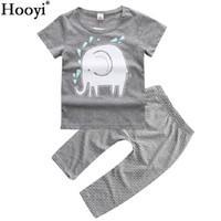 Wholesale Elephant Leggings - Hooyi Grey Elephant Baby Boy Clothes Suit Children Summer Outfits Newborn Clothing Sets 100% Cotton Baby T-Shirt Stripe Pants Leggings