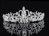 Wholesale Hair Accessories Stones - High Quality Shining Beaded Crystals Wedding Crowns Bridal Veil Tiara Crown Headband Hair Accessories Party Wedding Tiara