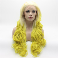 Wholesale light beautiful wig for sale - Iwona Hair Beautiful Light Blonde Root Golden Ombre Wavy Long Wig Half Hand Tied Heat Resistant Synthetic Lace Front Wig