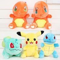 Wholesale Turtle Cute Doll - Cute Poke Pokémon Pikachu Plush dolls toys 21m 6 styles children Pikachu Charmander Jeni turtle Poke Ball Plush toy promotion gifts
