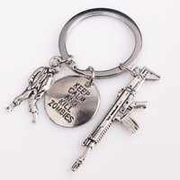 Wholesale Zombie Key Chain - 20PCS Lot The Walking Dead inspired Keyring Keep Calm And Kill Zombies Charm Key Chain Charm In Silver Shipping Agent
