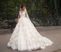Wholesale Wedding Ballgown Short Sleeve - White Wedding Dresses Lace Appliques arab Wedding Dress 2017 O-Neck Short Sleeve ballgown Court Train bridal dresses