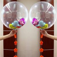 globo redondo de aluminio al por mayor-2 5hy Large 24 Pulgadas Transparente Foil Balloons Juguete Helium Airballoon DIY Confetti Juguetes Globo Redondo Para La Boda Fiesta de Cumpleaños decoración
