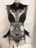 Wholesale Rhinestone Bodysuit - Bright Sequins Black Feather Bodysuit Stage Dancewear 4 Pieces Costume Female Singer Prom Wear Fashion Show Dj Outfit Clothing