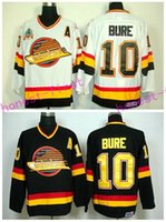 Hockey sur glace bon marché 10 Pavel Bure Throwback Jerseys Vancouver Canucks Road Alternate Noir Blanc Hommes Mode Broder Logos