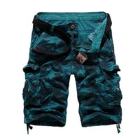 Wholesale Thin Overalls - Wholesale- New Men's Casual Shorts Army Cargo Combat Camo Thin multi Pocket Loose Jeans Camouflage Overall Shorts men 100% cotton k56