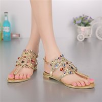 Wholesale W C Cover - Brand New Fashion Women's Flat Sandals Rhinestone Decorated Summer Shoes Diamond Inlay Lady's Plus Size Euro 34~44 Beach Shoes