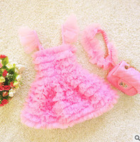 Wholesale Kids Swim Tutu - Baby beach swimsuit girls tiered tulle TUTU dress siamese swimming headband 2pcs sets kids falbala fly sleeve pageant swimwear R0624