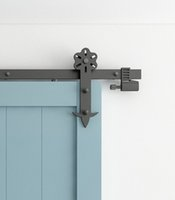 Steel spring door closer hardware - DIYHD FT FT Flower Cut Black Iron Sliding Barn Door Hardware With Spring in Soft Close Stop