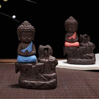 Compra Bruciatore Di Incenso Bastone All'ingrosso-Incenso con incenso in legno di sandalo con ceramica Yixing Zen Monk Buddha Incenso Burner Backflow Stick Censer Ornament