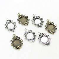 Wholesale Filigree Cabochon Settings - Min order 30pcs 21*30mm(Fit 12mm dia) Cameo Flowers Filigree Round Cabochon Pendant Setting two color Metal Jewelry Blank Findings D1069