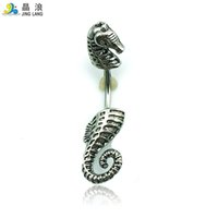 Wholesale Horse Belly Rings - 2016 New Design Good Quality Fashion Metal Black Silver Sea Horse Belly Button Rings For Women Body Jewelry