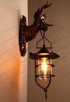 Wholesale Antique Art Deco - NEW Home Decor Buck Wall Lamp Antique Art Creative Brief Loft Antler Sconce Office Bar Wall Light Light Fitting MYY
