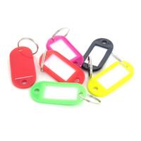 llaveros de plástico al por mayor-50 / Pcs Etiquetas de identificación y nombre de llavero de plástico con anillo partido para equipaje Llaveros Llaveros 5 cm x 2,2 cm 77