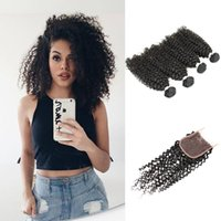 Wholesale Malaysian Afro Curl - Afro Kinky Curly Virgin Hair 4 Bundles with Lace Closure Natural Color Brazilian Peruvian Indian Cambodian Jerry Curl Human Hair Bundles