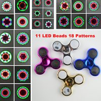 Wholesale Electroplated Battery - LED Light Fidget Spinner 11 LED Beads 18 Patterns Switch Chrome Hand Spinner Electroplate Tri-Spinner Toys Battery Replacement Free Send