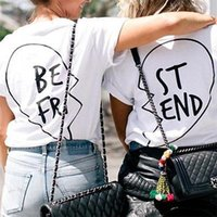Wholesale Bell End - Wholesale- woman girl Clothing 1pc Best Friend T-Shirt Pullover Short Sleeve ST-END BE-FRI Creative Black Love Matching Shirts BFTee Tops