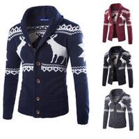 Wholesale Turtleneck Sweater Coat - Fashion Men knit coat winter sweater Christmas Sweater turtleneck sweater Sweater cardigan Christmas Knit Sweaters Winter Fashion A0473