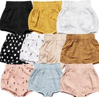 Wholesale Toddler High Waist Shorts - INS Baby shorts summer new boys girls ruffle high waist lantern shorts 12colors toddler kids cotton linen stripe pp shorts children bloomers