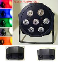 Wholesale Dmx Mix - New led par 7x15W RGBWY 5N1 color mixing stage light LED Par DMX Channels9 Light DJ KTV Wedding Free Shipping