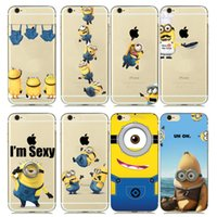 Wholesale Despicable Iphone Gel - 2017 New Designs Funny Despicable Me Minion Case Cover for capinhas iphone 7 6s 6 5s fundas Transparent Soft Clear Gel Hood