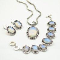 Wholesale Per Gold Necklace - S9 opal Stone Hollow Necklace Pendant & Earring & Ring per Set Jewlery Set ,Vintage Look,Tibet Alloy, wholesaler