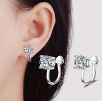 Wholesale Square Crystals 4mm - Fashion S925 Stamped sliver Plated 4MM 6MM Square Zircon Stones Ear Cuff Earrings Avoid allergy Crystal Stud for Women Girl ED271