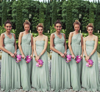 Wholesale Perfect Prom Style - 2017 Perfect Matching 3 Styles Long Mint Chiffon Bridesmaid Dresses One Shoulder A-line Floor Length Chiffon Bill Wedding Party 2y Prom Gown