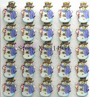 Wholesale Christmas Led Light Brooches - Wholesale-25 pcs lot Christmas snowman kids cartoon LED brooch, lighting brooches with pin p-48