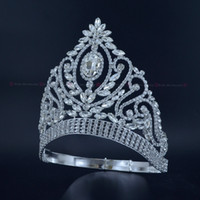 Wholesale Crowns Pageants Beauty - Pageant Crowns Rhinestone Crystal Silver Miss Beauty Queen Bridal Wedding Tiaras Princess Headress Fashion Hair Jewelry Crown Mo226