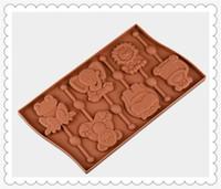velas animais venda por atacado-6 furos animais Lollipop Mold Flexível Silicone Soap Mold Para Sabonete Artesanal Vela Doces bakeware moldes de cozimento cozinha ferramentas moldes de gelo