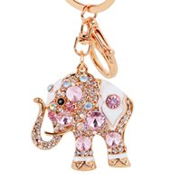 Wholesale Wholesale Crystal Wedding Keychains Favor - Elephant Crystal Bag Pendant Purse Bag Buckle Trendy Key chains Holder Keyrings Keychains Wedding Party Favor and Gifts DHL Free Shipping