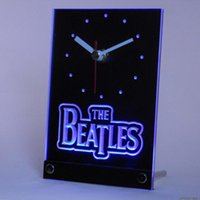Wholesale beatles plastic - Wholesale-tnc0144 The Beatles Band Bar Beer Table Desk 3D LED Clock